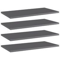 vidaXL Přídavné police 4 ks šedé vysoký lesk 60x30x1,5 cm dřevotříska