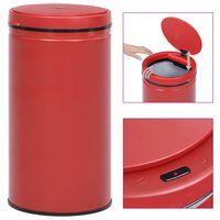 vidaXL Odpadkový koš s automatickým senzorem 60l uhlíková ocel červený