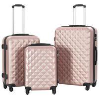 vidaXL Sada skořepinových kufrů na kolečkách 3 ks růžová zlatá ABS