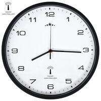 vidaXL Rádiem řízené nástěnné hodiny Quartz 31 cm bíločerné