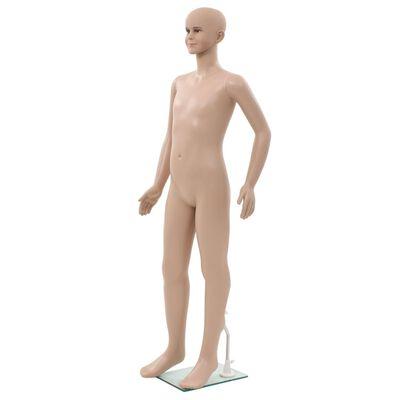 vidaXL Dětská figurína celá postava základna ze skla béžová 140 cm