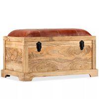 vidaXL Lavice z masivního mangového dřeva a pravé kůže 80 x 44 x 44 cm