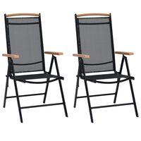 vidaXL Skládací zahradní židle 2 ks hliník a textilen černé