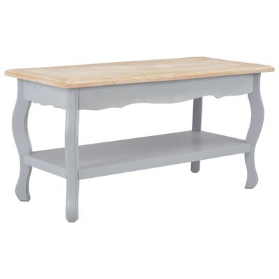 vidaXL Konferenční stolek šedý a hnědý 87,5x42x44 cm masivní borovice