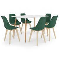 vidaXL 7 Piece Dining Set Dark Green (287242+3x289154)