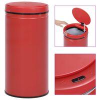 vidaXL Odpadkový koš s automatickým senzorem 70l uhlíková ocel červený