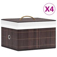 vidaXL Bambusové úložné boxy 4 ks hnědé