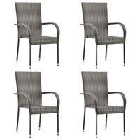 vidaXL Stohovatelné zahradní židle 4 ks šedé polyratan