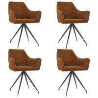 vidaXL Jídelní židle 4 ks hnědé samet