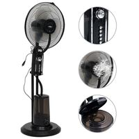 vidaXL Pedestal Mist Fan 3 Wind Speeds Black