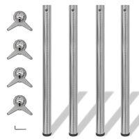 4 stolové nohy s nastavitelnou výškou, broušený nikl, 870 mm