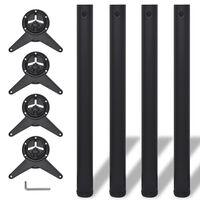 4 stolové nohy s nastavitelnou výškou černé, 710 mm