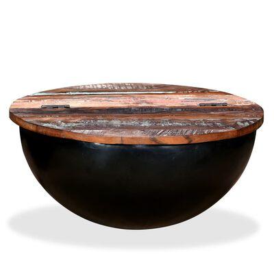vidaXL Konferenční stolek, masivní recyklované dřevo, černý, tvar misky