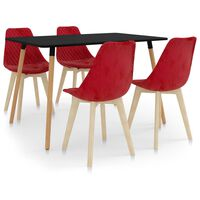 vidaXL 5 Piece Dining Set Red (287243+289165)