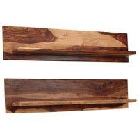 vidaXL Nástěnné police 2 ks 118 x 26 x 20 cm masivní sheeshamové dřevo