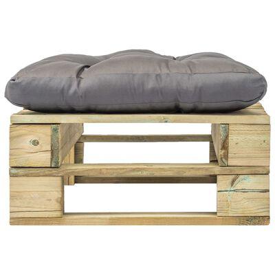 vidaXL Zahradní taburet z palet s šedou poduškou zelený dřevo
