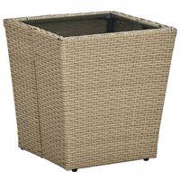 vidaXL Čajový stolek béžový 41,5x41,5x44 cm polyratan a tvrzené sklo