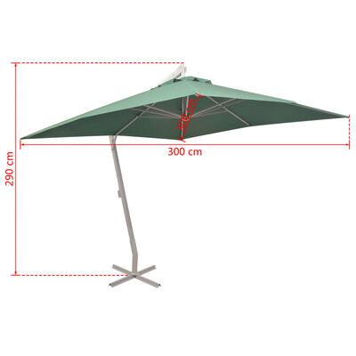 vidaXL Závěsný slunečník 300 x 300 cm zelený hliníková tyč
