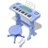 vidaXL Dětské klávesy se stoličkou a mikrofonem 37 kláves modré