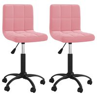 vidaXL Otočné jídelní židle 2 ks růžové samet