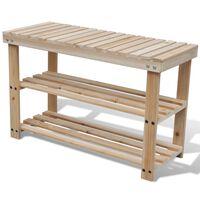 vidaXL Botník s lavičkou 2-v-1 s lavičkou masivní jedlové dřevo