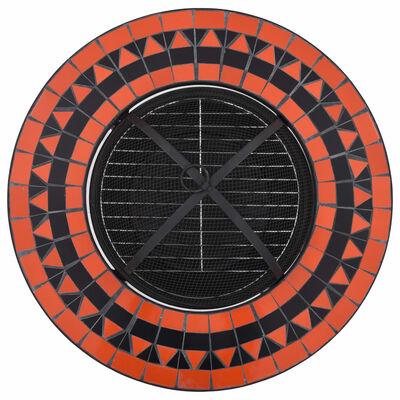 vidaXL Mozaikový stolek s ohništěm terakotovo-bílý 68 cm keramika