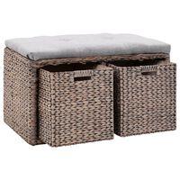 vidaXL Lavice z mořské trávy se 2 košíky 71 x 40 x 42 cm šedá