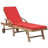 vidaXL Zahradní lehátko s poduškou masivní teakové dřevo červené