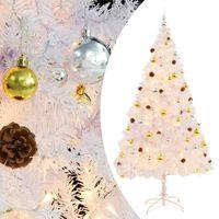 vidaXL Umělý vánoční stromek ozdobený s baňkami a LED 210 cm bílý