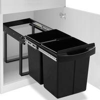 vidaXL Vestavný odpadkový koš na tříděný odpad pomalé zavírání 48 l