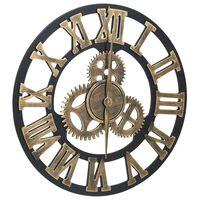321471 vidaXL Wall Clock Gold and Black 45 cm MDF