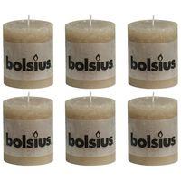 Bolsius Rustikální válcové svíčky 6 ks 80 x 68 mm pastelově béžové