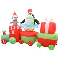 vidaXL Vánoční nafukovací tučňák a myš na vláčku LED IP44 350 cm