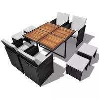 vidaXL 9dílný zahradní jídelní set polyratan a akáciové dřevo černý