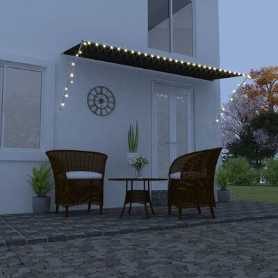 vidaXL Zatahovací markýza s LED světlem 400 x 150 cm antracitová