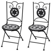 vidaXL Skládací bistro židle 2 ks keramické černé a bílé