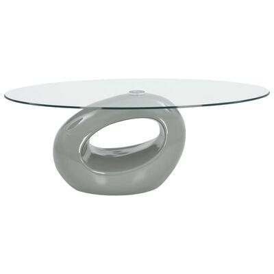 vidaXL Konferenční stolek s oválnou skleněnou deskou vysoký lesk šedý