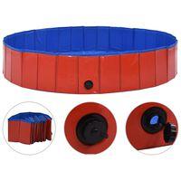 vidaXL Skládací bazén pro psy červený 160 x 30 cm PVC