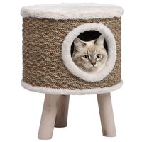 vidaXL Cat House with Wooden Legs 41 cm Seagrass