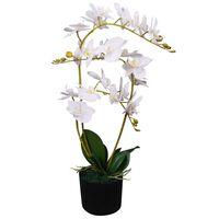 vidaXL Umělá rostlina orchidej s květináčem 65 cm bílá
