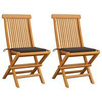vidaXL Zahradní židle s šedomodrými poduškami 2 ks masivní teak