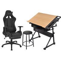 vidaXL Kreslící stůl s naklápěcí deskou a kancelářské křeslo Racing