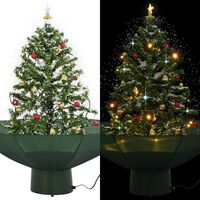 vidaXL Sněžící vánoční stromeček s deštníkovým stojanem zelený 75 cm