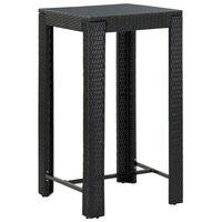 vidaXL Garden Bar Table Black 60,5x60,5x110,5 cm Poly Rattan