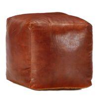 vidaXL Sedací puf bronzový 40 x 40 x 40 cm pravá kozí kůže