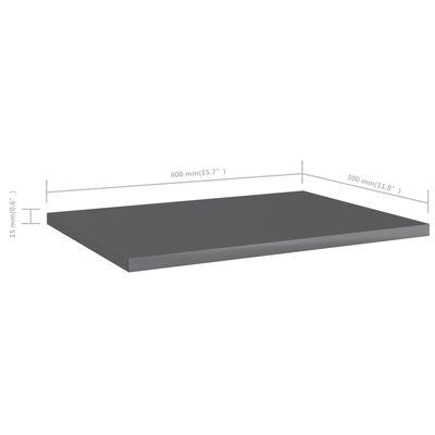 vidaXL Přídavné police 4 ks šedé vysoký lesk 40x30x1,5 cm dřevotříska