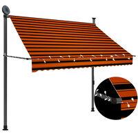 vidaXL Ručně zatahovací markýza s LED světlem 200 cm oranžovo-hnědá