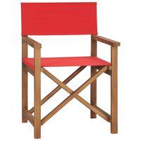vidaXL Režisérská židle masivní teak červená