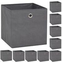 vidaXL Úložné boxy 10 ks netkaná textilie 32 x 32 x 32 cm šedé