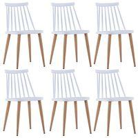 vidaXL Jídelní židle 6 ks bílé plastové